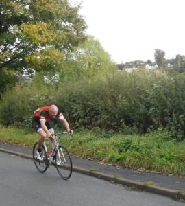 Bury Clarion rider Joe Cadwallader on his way to the national clarion individual and team hill climb titles